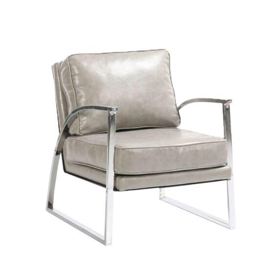 KUMON Dizájnos fotel,  ezüst-szürke/ezüst