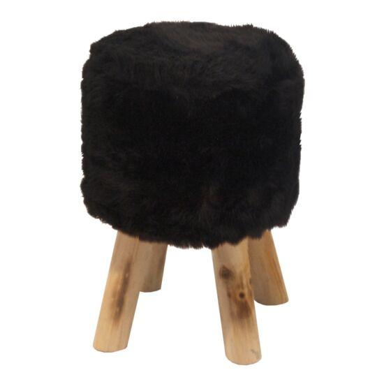 ALPIA Puff,  fekete szőrme/tűnyalábos fenyő