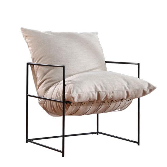 DEKER Modern fotel,  bézs/fekete