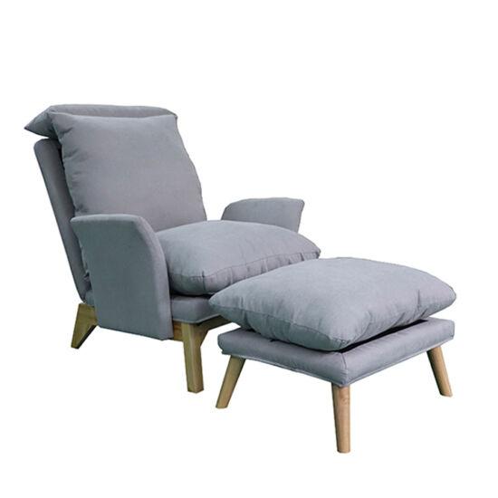 ZANDER Fotel lábtartóval,  világosszürke/természetes