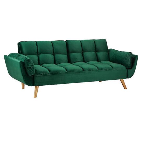 KAPRERA Kinyitható kanapé,  smaragd bársony/bükk