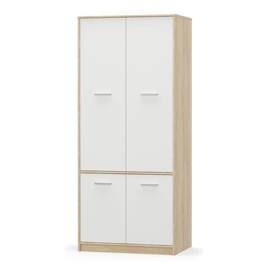 TEYO 4- ajtós akasztós szekrény,  fehér/tölgy sonoma