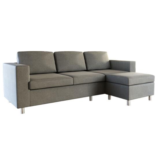 SILERA 3-személyes kanapé puffal,  világosszürke