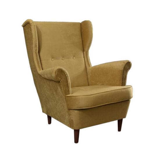 RUFINO Füles fotel,  bézs-arany/dió