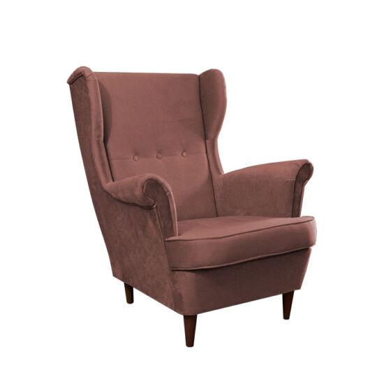 RUFINO Füles fotel,  rózsaszín/dió