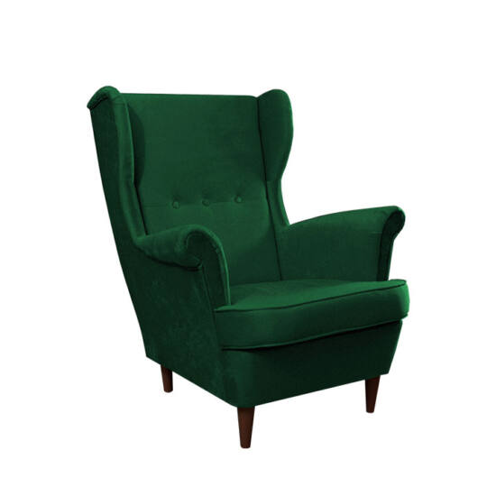 RUFINO Füles fotel,  zöld/dió
