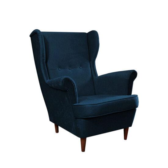 RUFINO Füles fotel,  kék/dió