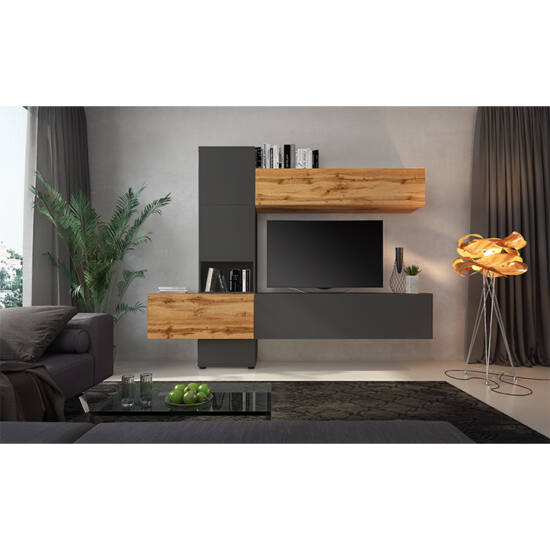 BRISTOL Nappali bútor,  tölgy wotan/lava barna szuper matt