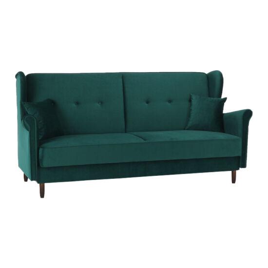 COLUMBUS Kinyitható kanapé,  zöld szövet