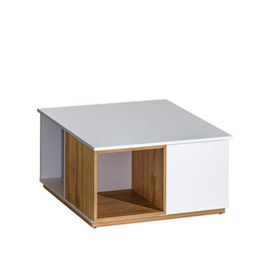 KNOX Dohányzóasztal,  dió select/fehér [E13]