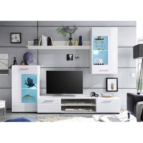 HENRI Nappali bútor,  fehér extra magasfényű high gloss/fehér [NEW]