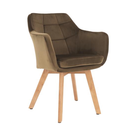 ZERON fotel,  szövet velvet arany-barna/tölgy