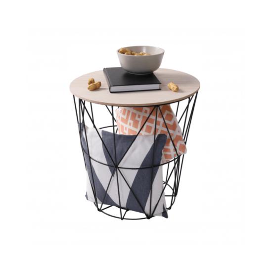 NANCER kisasztal,  természetes/fekete [TYP 2]