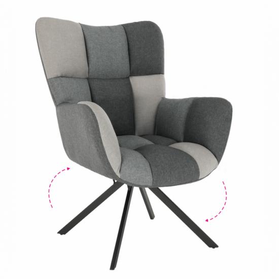 KOMODO Dizájnos forgó fotel,  patchwork/fekete