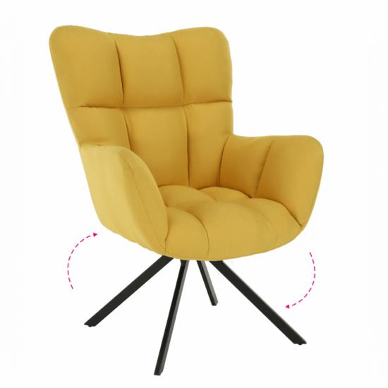 KOMODO Dizájnos feorgó fotel,  sárga/fekete