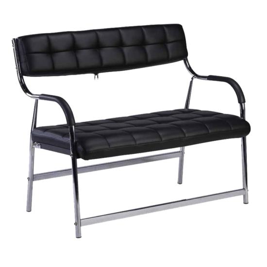 ILKIN 2 személyes pad a  várótermekbe,  fekete/króm