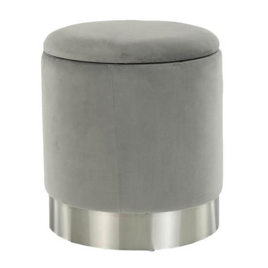 DARON Puff,  szürke Velvet anyag/ezüst króm