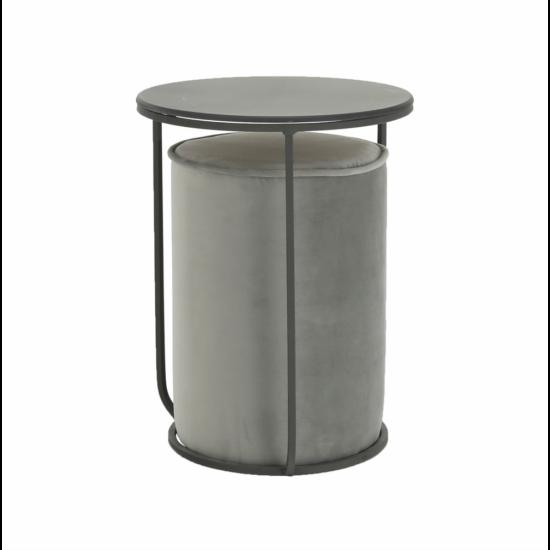LEILA Szett kisasztal és puff,  szürke Velvet anyag/sötétszürke