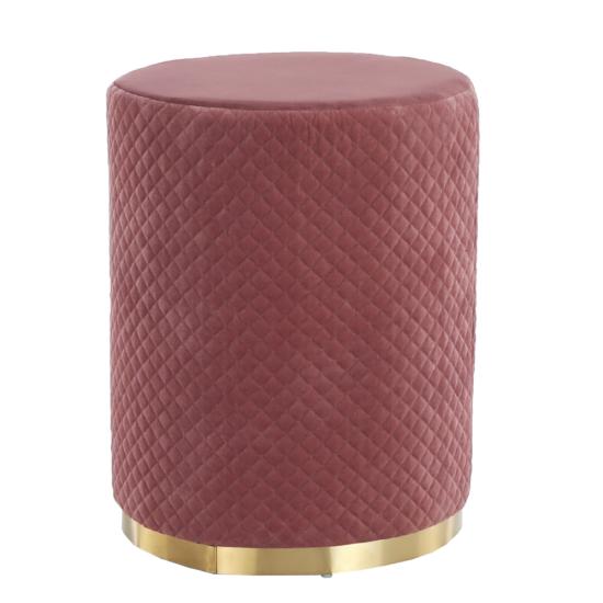 BARICA Puff,  rózsaszín Velvet anyag/arany festés