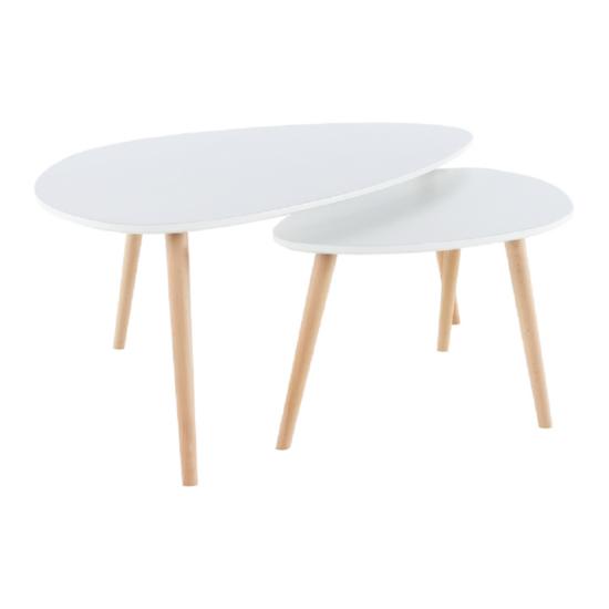FOLKO Két részes asztal szett,  fehér/bükk [NEW]