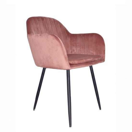 ZIRKON Dizájnos fotel,  rózsaszínes barna Velvet anyag