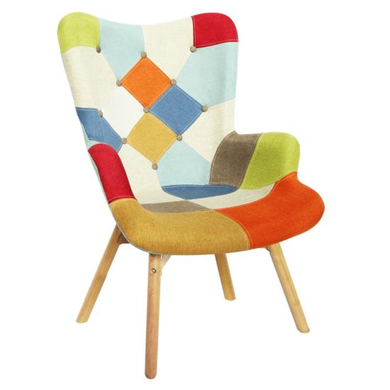 KAPRUN Dizájnos fotel,  színes patchwork