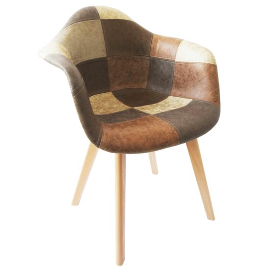 TERST Dizájnos fotel,  patchwork/bükk