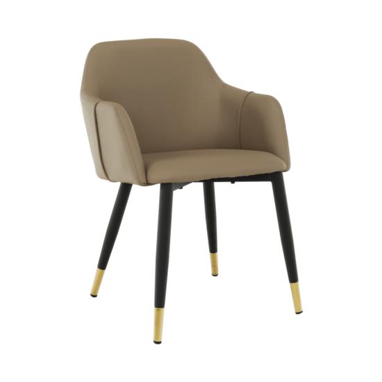 KARAT Fotel,  szürkésbarna taupe/fekete/arany