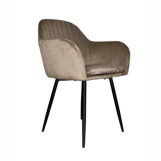 ZIRKON Dizájnos fotel,  szürkésbarna Taupe Velvet anyag