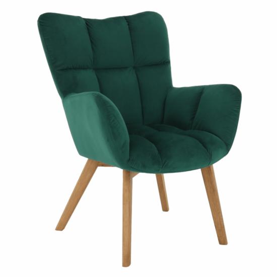 FONDAR Dizájnos fotel,  smaragd Velvet anyag/tölgy