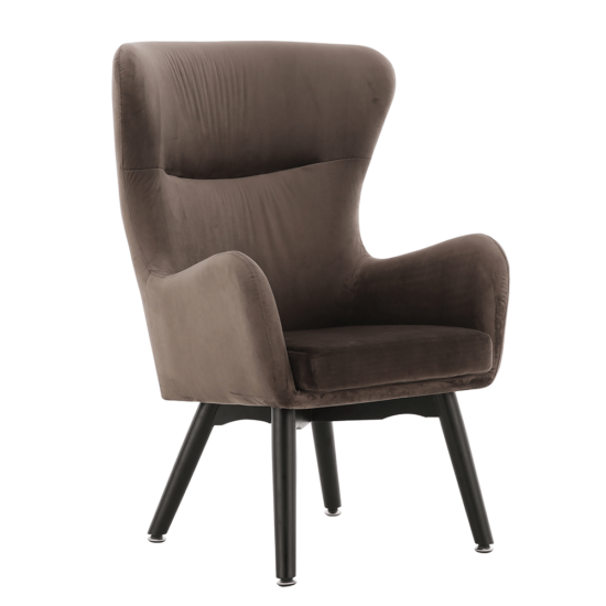 TENAL Dizájnos fotel,   szürkésbarna TAUPE Velvet anyag