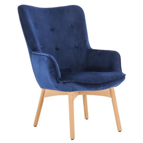 FODIL Dizájnos fotel,  kék Velvet anyag