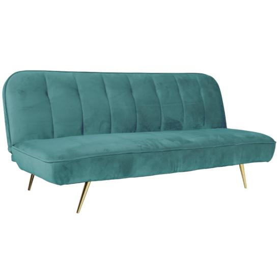 RODANA Széthúzhatós kanapé,  petróleum Velvet anyag/gold króm-arany