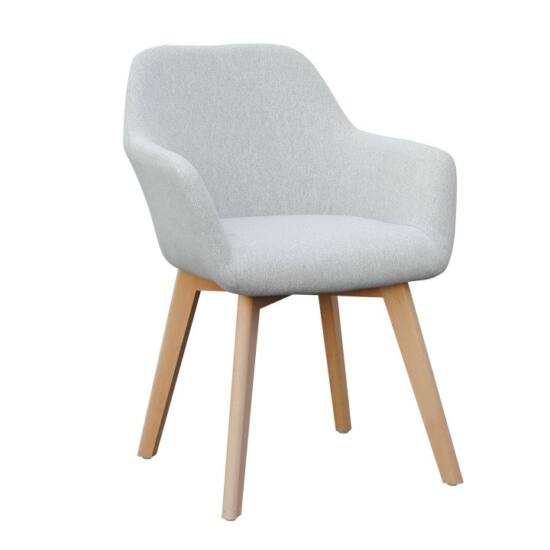 CLORIN Dizájnos fotel,  világosszürke/bükk [NEW]