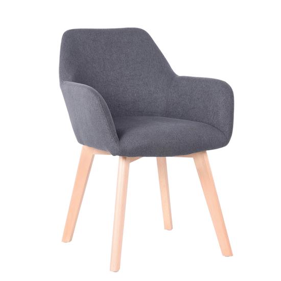 CLORIN Dizájnos fotel,  sötétszürke/bükk [NEW]