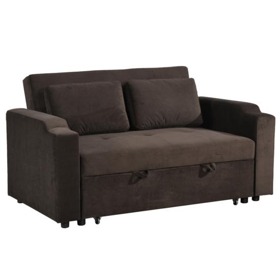 ZAMBA Széthúzhatós kanapé,  barna Velvet anyag
