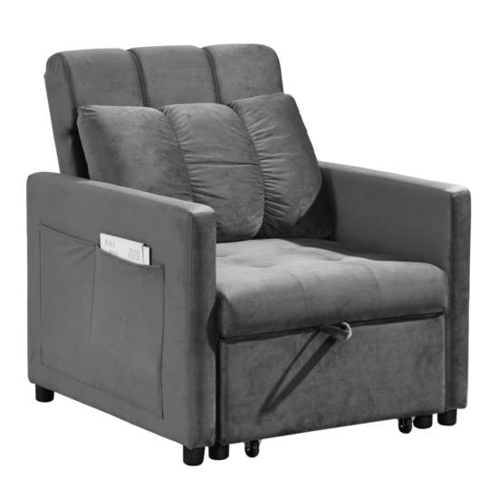 IGRIM fotel ágyfunkcióval,  világosszürke Velvet anyag