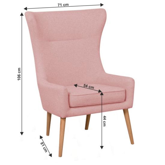 FADOR Füles fotel,  rózsaszín/bükk