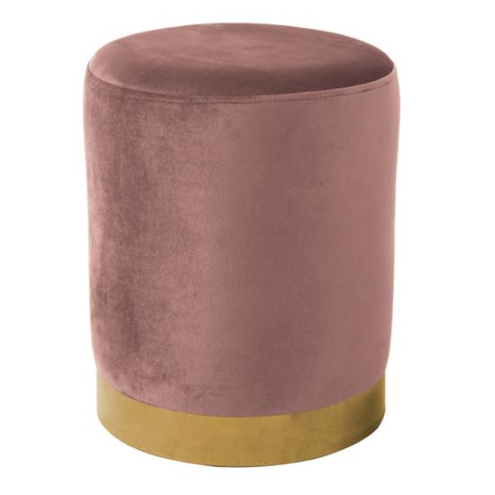 ALAZ Puff,  rózsaszín Velvet anyag/gold króm-arany