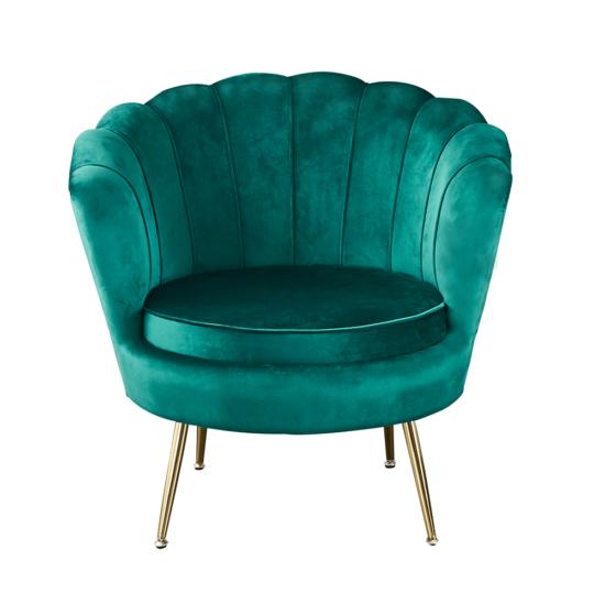 NOBLIN Art-deco desing fotel,   smaragd bársony szövet/arany króm- arany