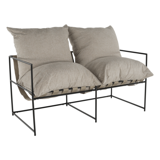 DEKER Dupla ülés-fotel,  bézs/fekete