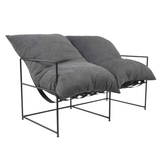 DEKER Dupla ülés-fotel,   szürke szövet/fekete