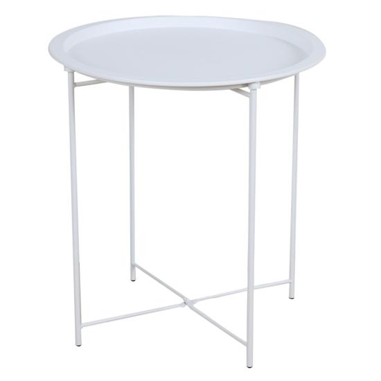 RENDER Kisasztal levehető tálcával,  fehér