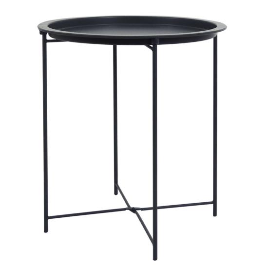 RENDER Kisasztal levehető tálcával,  fekete