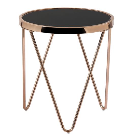 VALERO Sarok/Kisasztal,  rose gold króm rózsaszín/fekete