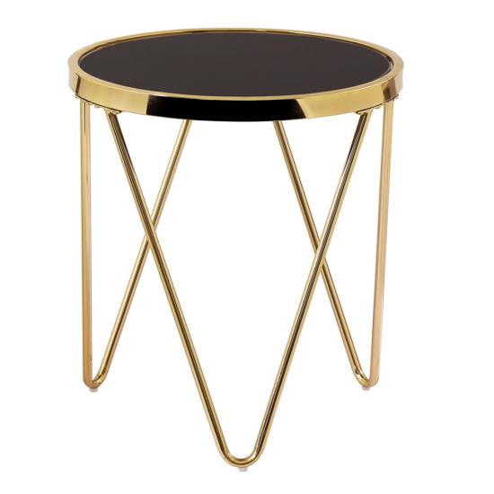 VALERO Sarok/Kisasztal,  gold króm arany/fekete
