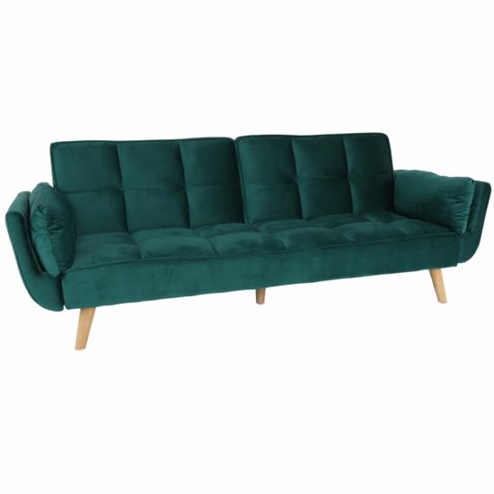 KAPRERA Kinyitható kanapé,  smaragd bársony/bükk [NEW]