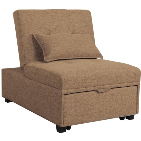 OKSIN Fotel ágyfunkcióval,  barna anyag