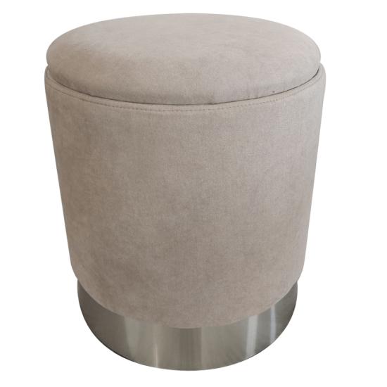 DARON Puff,  barna-szürke TAUPE anyag/ezüst króm