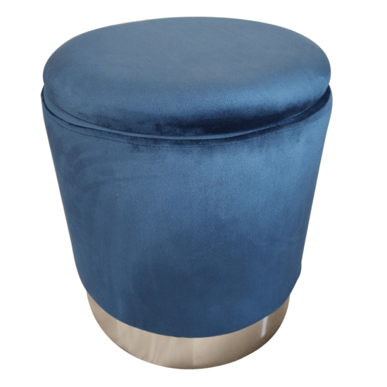 DARON Puff,  kék Velvet anyag/ezüst króm